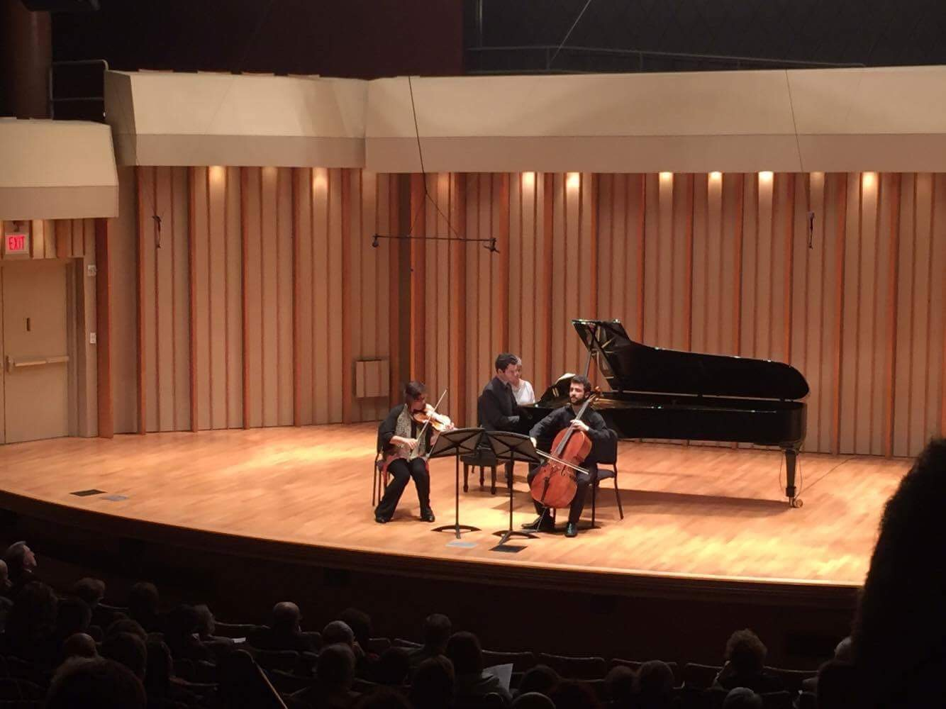 With Varty Manouelian and Eddie Pogossian. Mendelssohn's trio No. 2 at Zipper Hall for the Dilijan series.